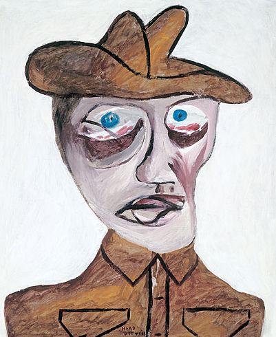 Sidney Nolan, Head of soldier, 1942, enamel on cardboard, 75.8 x 63.3cm
