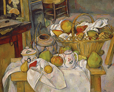Paul Cezanne, Kitchen table, Still-life with basket, 1888-90, oil on canvas, 65.0 (h) x 80.0 (w) cm