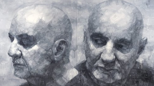 Adam Chang, Two eyes - closing to open, oil on canvas, 200 x 350cm