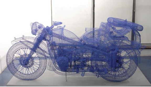 Shi Jindian, wire woven motorcycle and sidecar, 2008