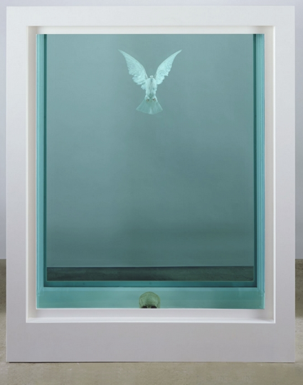 Damien Hirst, 'An Inescapable Truth', 2005, glass tank of formaldehyde, dove, human skull