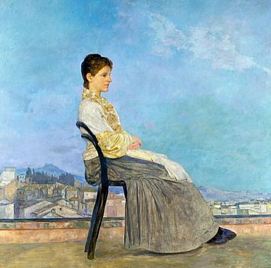 Klinger Max, Portrait of a Roman woman on a rooftop in Rome, 1891, oil on canvas