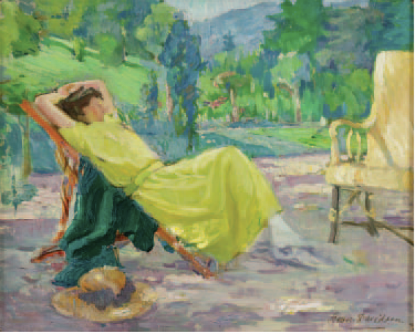Bessie Davision (1879 - 1965): La Robe Jaune, 1931, Oil on canvas 38 x 46cm