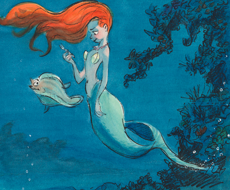 Glen Keane The Little Mermaid, 1989 Ariel and Flounder Concept art: gouache and black line (xerographic copy) on paper