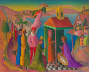 Justin O'Brien, Nativity c1949–50, oil on canvas, laid on cardboard