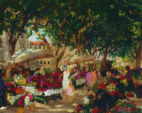 Ethel Carrick Fox, Flower market, Nice c.1925. Oil on canvas. 60 x 73cm.