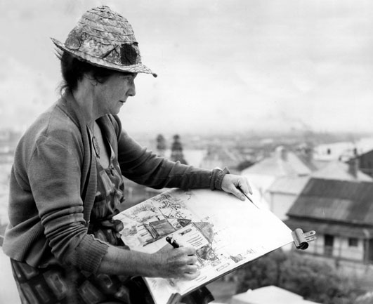 Margaret Olley sketching in Newcastle, 1965