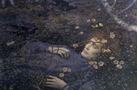Edward Robert Hughes (1851-1914) 'Oh, what's that in the hollow, so pale, I quake to follow?' 'Oh, that's a thin dead body, which waits the eternal term.', 1893, Watercolour with gum and scratching-out on paper, Royal Watercolour Society