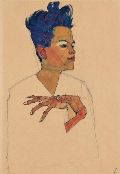 Egon Schiele, Self-portrait with hands on chest