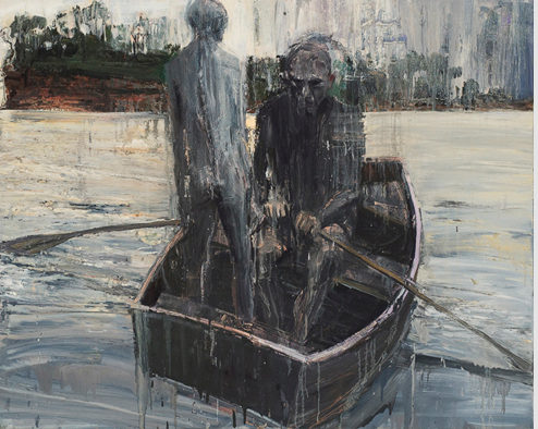 Euan Macleod, Two in Boat (one standing) 2007, oil on canvas, 100 X 124 cms