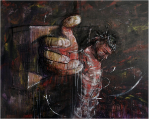 Aaron Moore, Crucifiction IV, 2011, oil, charcoal and acrylic on canvas