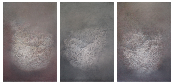 Anne Judell, Breath (triptych), pastel, graphite