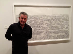 Peter Gardiner in front of 'Hexham (swamp)'