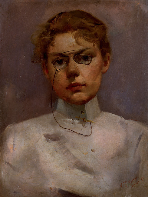 Julian Ashton, 'Study of Alice Muskett', oil on wood, 1893