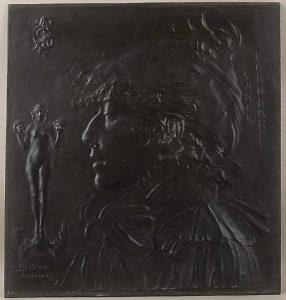Bertram Mackennal, 'Sarah Bernhardt', bronze relief, c. 1892
