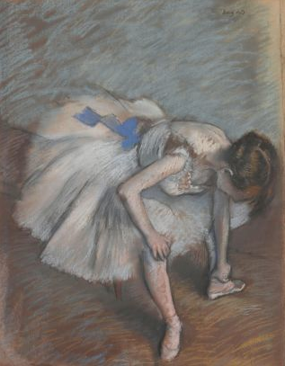 Edgar Degas, France 1834–1917 Seated dancer leaning forward, massaging her left foot c.1881–83 Pastel, brown paper backed with cardboard 62 x 49cm