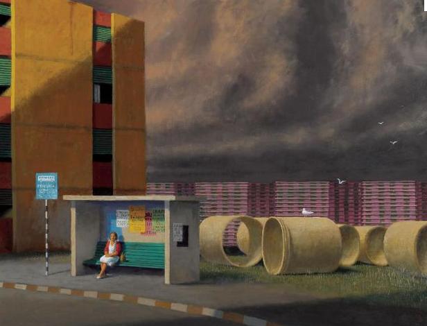Jeffery Smart, The bus stop, 2009, oil on canvas 85 x 108 cm