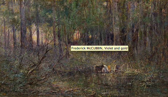 Frederick McCubbin, Violet and gold, 1911, oil on canvas, 72.0 h x 130.0 w cm