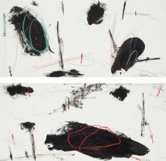 Graham Kuo, Black and White with Colour Lines, 2009, ink and pastel on paper, 27cm x 57cm each