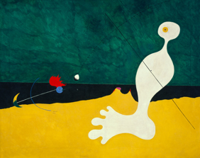 Joan Miró, Person Throwing a Stone at a Bird, 1926, Oil on canvas 29 x 36 1/4
