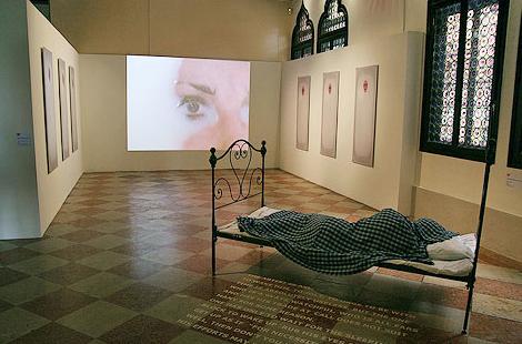 Yelena Vorobyeva & Viktor Vorobyev, Artist Asleep, 1998,  Installation (bed in front), Central Asia pavillon