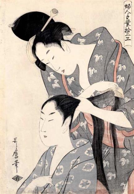 Kitagawa Utamaro, Hairdresser (Kamiyui), c.1797–98, colour woodblock print, 38.0 x 7.6 cm