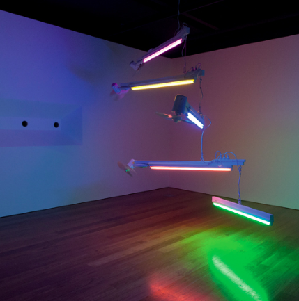 Ross Manning, Spectra lll, 2012, Coloured fluorescent lamp, motorised fan, power board, extension cable, wood, rope. Installation view: National New Media Art Award 2012, Gallery of Modern Art, Brisbane, 3 Aug–4 Nov 2012.