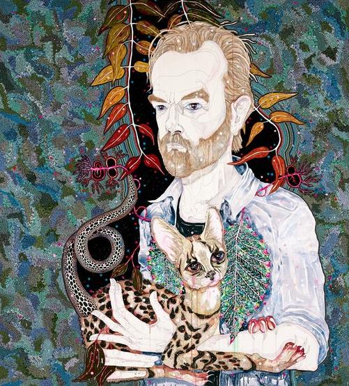 Del Kathryn Barton, hugo, watercolour, gouache and acrylic on canvas, 200 x 180 cm