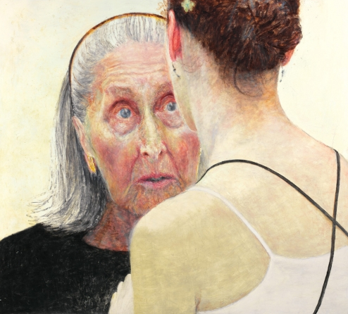 Jenny Sages, Irina Baranova (handing on the baton), 2007, oil and encaustic on board