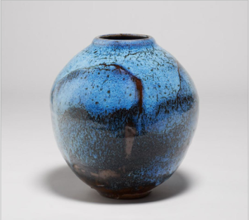 Vase c1991, tenmoku and jun glazes, was resist decoration, (h)28cm, d)26cm