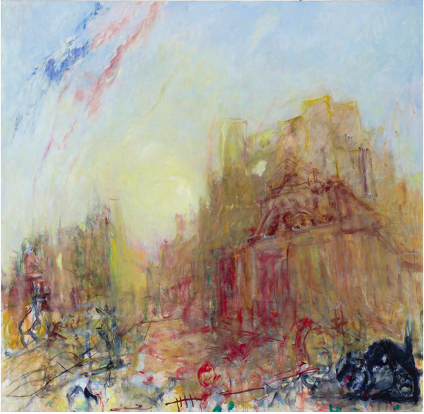 Kevin Connor, Evening light (Liverpool Street west) with courthouse and cat, 2013, oil on canvas, 193 x 203 cm