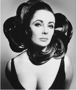 Richard Avedon, Elizabeth Taylor, cock feathers by Anello of Emme, New York studio, July 1964