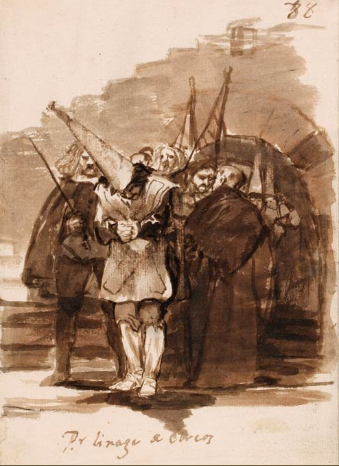 Francisco de Goya, For having Jewish ancestry, c1808–14, Brush drawing in brown ink and wash, 20.5 × 14.2 cm