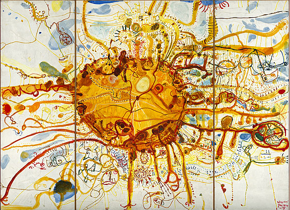 John Olsen, Sydney sun (King sun) 1965, oil on three plywood panels, 307.0 h x 412.5 w x 4.0 d cm
