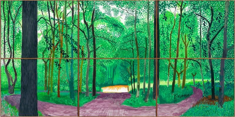 David Hockney, Woldgate Woods, 26, 27 & 30 July 2006. Oil on 6 Canvases (36 X 48 inches each) 72 x 144 inches overall. © 2013 David Hockney. Photo: Richard Schmidt