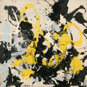 Jackson Pollock No 22 1950 enamel on Masonite, 56.4 x 56.4 cm Philadelphia Museum of Art The Albert M Greenfield and Elizabeth M Greenfield Collection 1974 1974-178-41 © Pollock-Krasner Foundation. ARS, Licensed by Viscopy