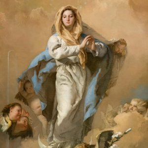 Giambattista Tiepolo Italian 1696–1770, worked in Spain 1762–70 The Immaculate Conception (L'Immacolata Concezione) 1767–69 oil on canvas 281.0 x 155.0 cm  Museo Nacional del Prado, Madrid (P00363) Spanish Royal Collection