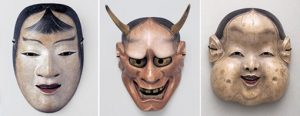 No mask Kasshiki (kokasshiki), Muromachi, period, 16th century, Agency for Cultural Affairs of Japan, No mask Aka (red) hannya, Edo period, 18th–19th century and Kyogen mask Oto, Edo period, 18th century, National Noh Theatre.