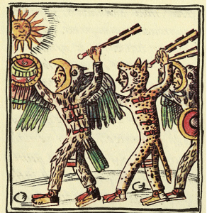 Illustration from the Florentine Codex showing Aztec warriors. Eagle Warrior (left) and Jaguar Warrior (right)