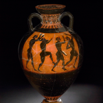 (Attributed to the Euphiletos Painter from Vulci, Italy), Black-figured Panathenaic Prize-Amphora (530-520 BC), 61.8 (h) x 41 cm (diameter).
