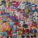 LUCY CULLITON, Knitted dolls, crowd scene (2007) oil on canvas, 120x120cm Private Collection. LUCY CULLITON, Auto globes (2008), oil on canvas 130 x 130 cm. Private Collection. Image courtesy of Mosman Art Gallery