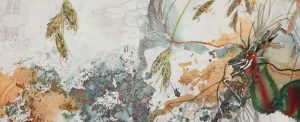 John Wolseley A Clarence Galaxia in the Ancient Sphagnum Bogs – Skullbone Plains, Tasmania 2013 (detail), watercolor, graphite on paper, 140 × 300 cm. Collection of the artist, courtesy Roslyn Oxley9 Gallery, Sydney