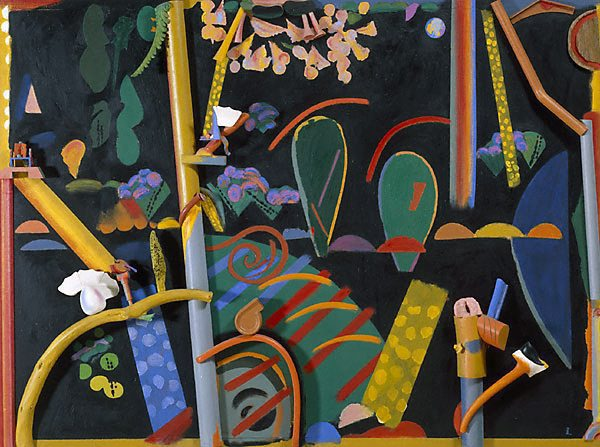 Colin Lanceley (Australia, b.1938), 'Songs of a summer night (Lynne's garden)' (1985), oil, wood on canvas