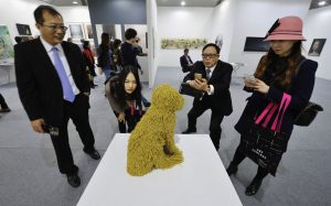 'Royal Pet' by Troy Emery gets a baffled reaction from some attendees.