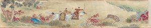 CHINESE Qianlong Emperor hunting deer Qing dynasty, Qianlong period 1736–95 (detail). The Palace Museum, Beijing