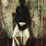 William Dobell, 'Boy in white laplap' (1952)  also known as New Guinea boy, oil on hardboard, 40.6 x 30.7 cm. Private collection