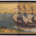 Japan, Dutch trading ship in Japanese waters, c.1870 four-panel screen, opaque watercolour, ink and gold on paper, 67.5 x 138.0 x 11.0 cm, Kerry Stokes Collection, Perth  2006.004