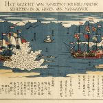 Japan,  The arrival of a Dutch ship at the port of Nagasaki in 1641 [Het gezicht van aankomst der Hollansche scheepen in de haven van nangazakie: Oranda fune nyushin no zu], 1800, Nagasaki; printed by Bunkindo, colour woodblock print on paper (nishiki-e), 30.0 x 40.0 cm, The Gwinnett Collection, Adelaide