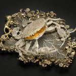 CHINESE Crab-shaped box on a leaf tray (1740s –50s) silver, enamel, silver-gilt (a) 4.0 x 14.0 x 13.0 cm (box) (b) 3.0 x 22.0 x 17.0 cm (stand) The State Hermitage Museum, St Petersburg (Inv. no. ЛС-9 а,б, ВВс-186)