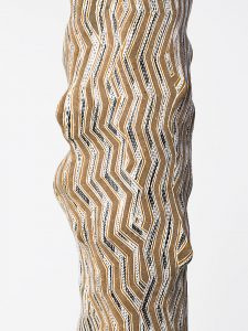 Gunybi Ganambarr, Australia b.1973, Ngaymil people / Garraparra (Larrakitj) (detail) 2015 / Wood with natural pigments and sand / 292 x 30cm